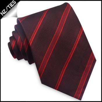 Burgundy With Scarlet And Cherry Red Stripes Mens Tie