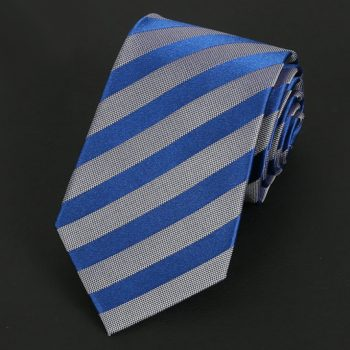 Silver & Blue Stripes Silk Tie