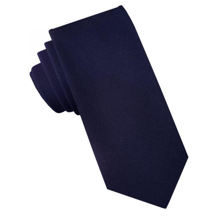 Dark Blue Cotton Blend Skinny Tie
