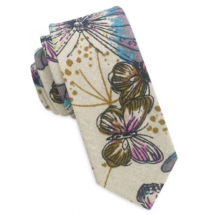 Beige with Butterfly Pattern Men's Skinny Tie