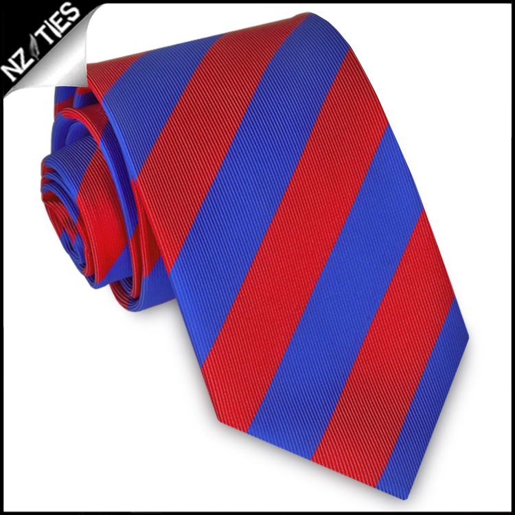 Red & Blue Stripes Mens Sports Necktie