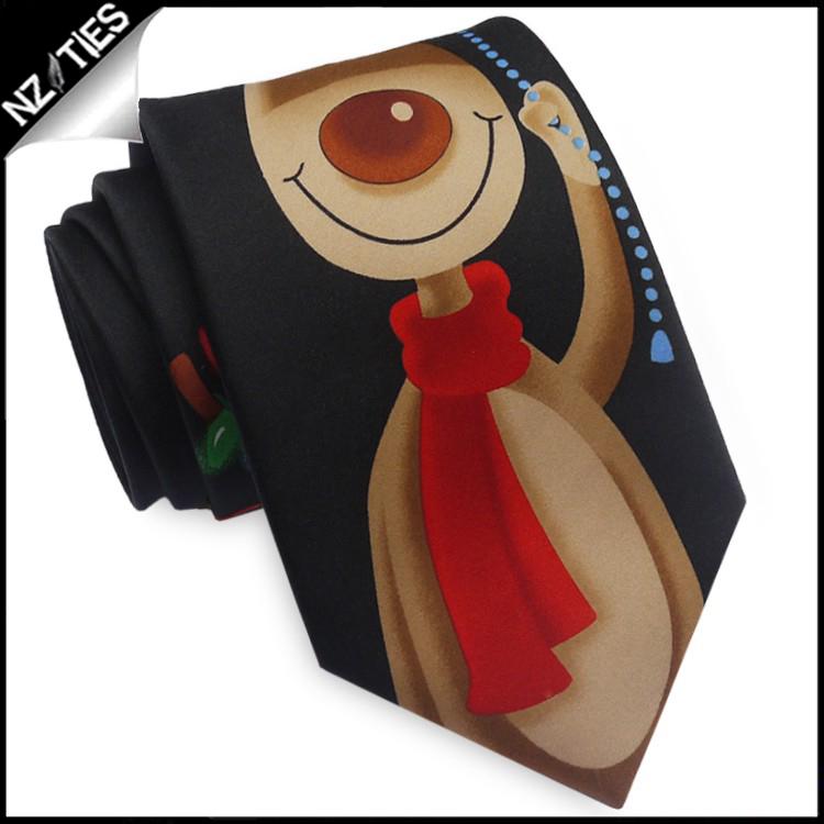 Black Rudolph Christmas Lights Tie