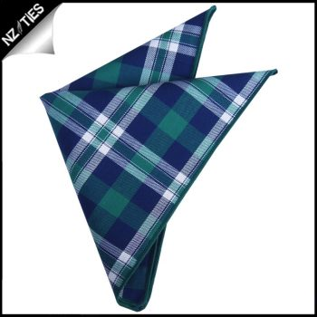 Green, Blue & White Tartan Pocket Square