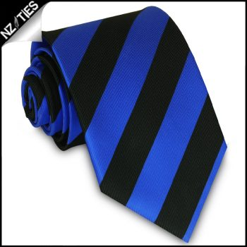 Blue & Black Stripes Mens Sports Tie