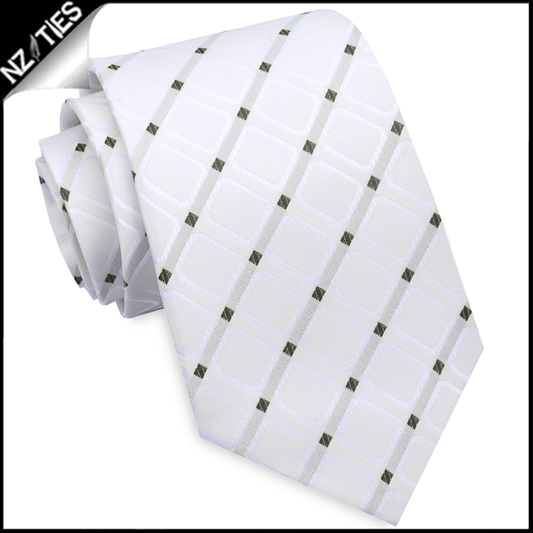 Ivory with White Squares Mens Necktie