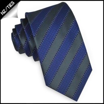 Black With Blue Brick Stripes Slim Tie