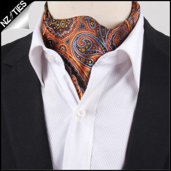 Men's Orange, Blue & Red Paisley Ascot Cravat