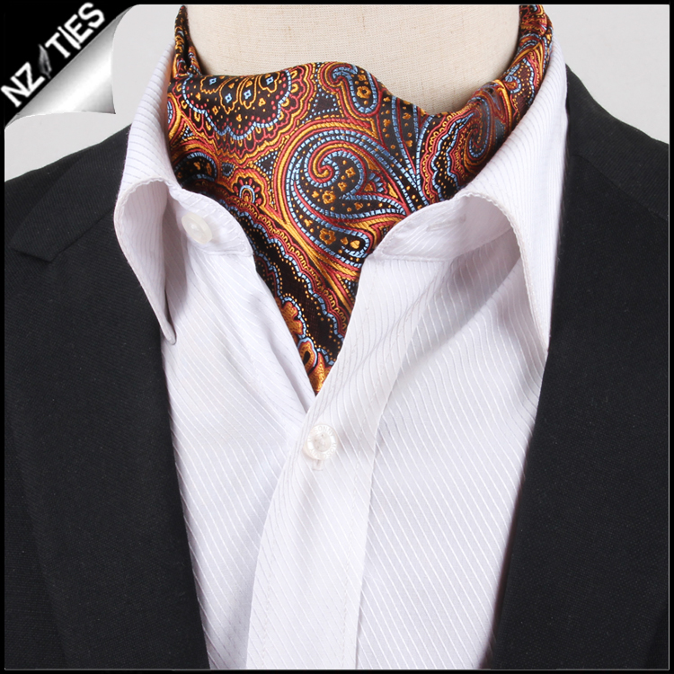 Men's Orange, Blue & Red Paisley Ascot Cravat