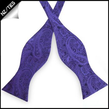 Purple & White Check Self Tie Bow Tie