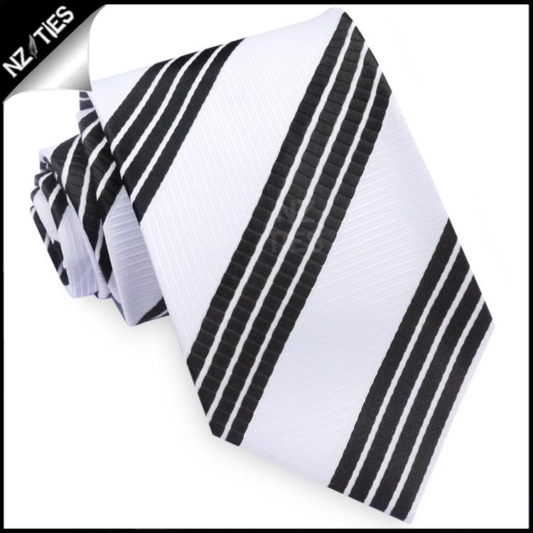 White with Black Rail Stripes Mens Tie