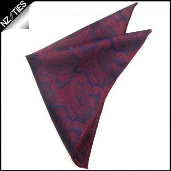 Dark Blue & Red Paisley Pocket Square