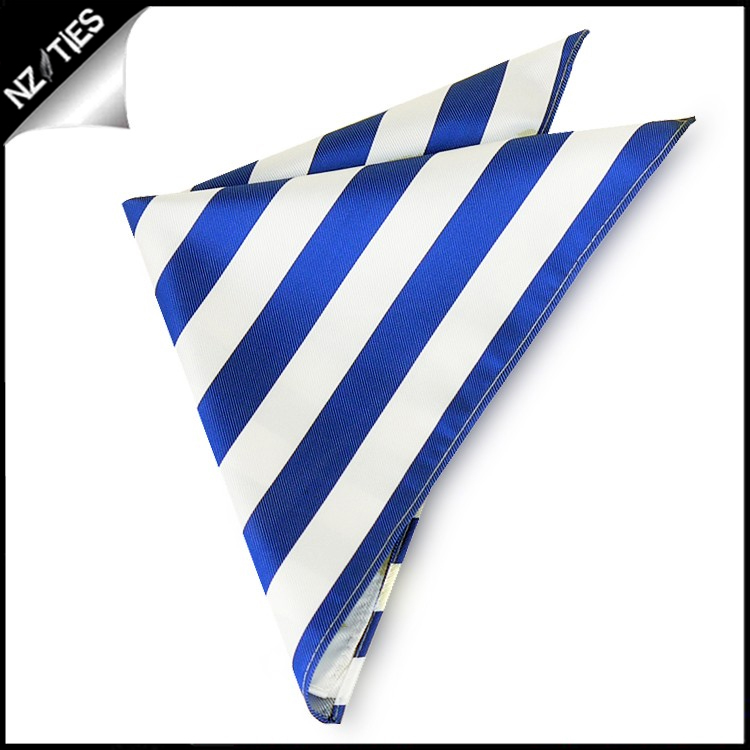 Royal Blue & White Striped Pocket Square Handkerchief
