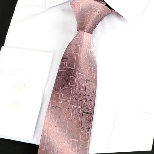 Blush with Art Deco Squares Silk Tie 2