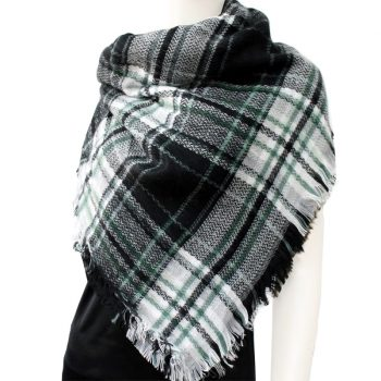 Black White & Green Tartan Womens Scarf