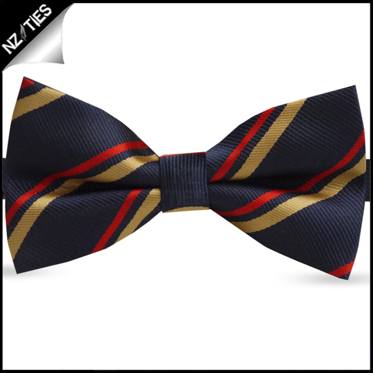 Navy Blue with Red & Gold Stripes Bow Tie