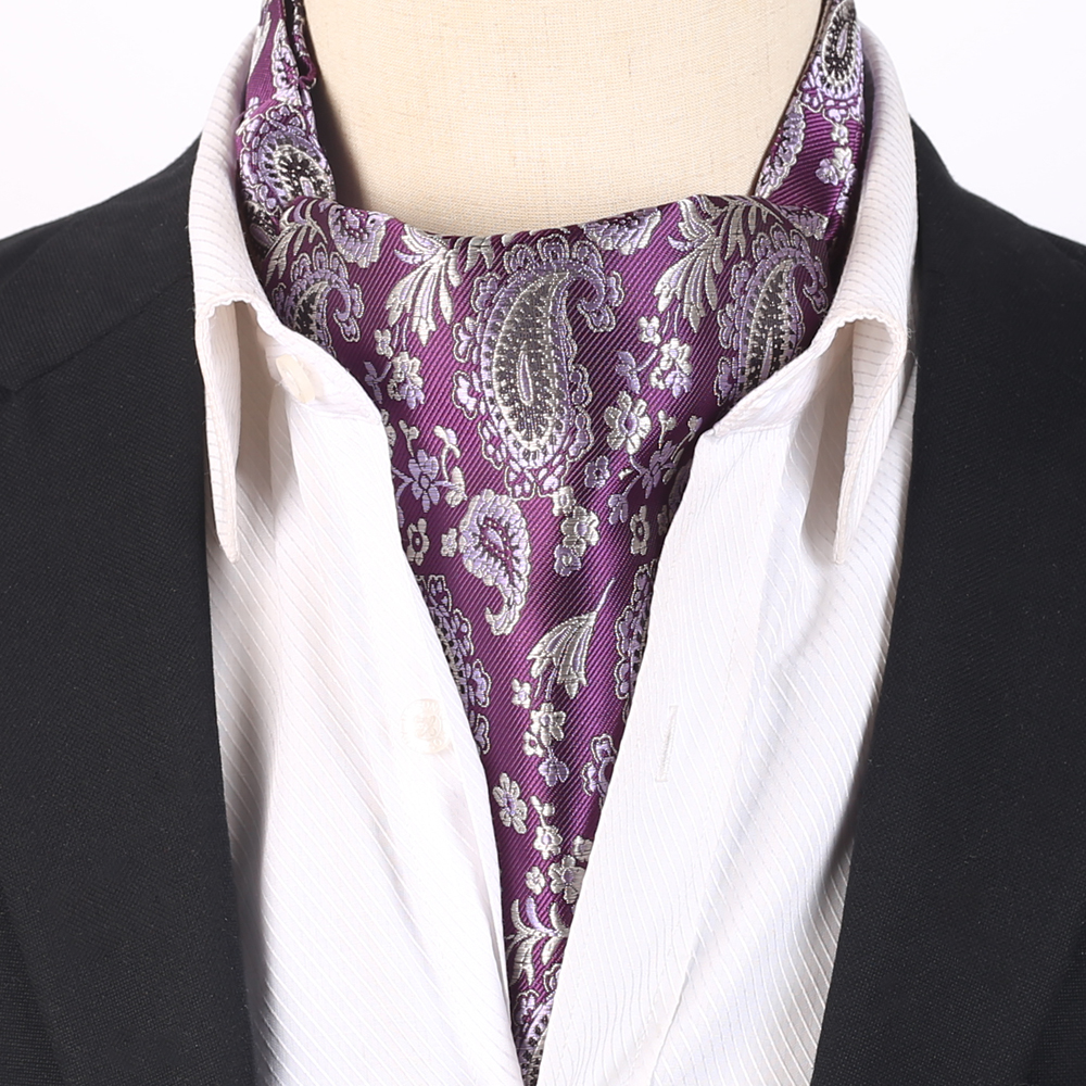 Purple with Lilac and Grey Paisley Ascot Cravat