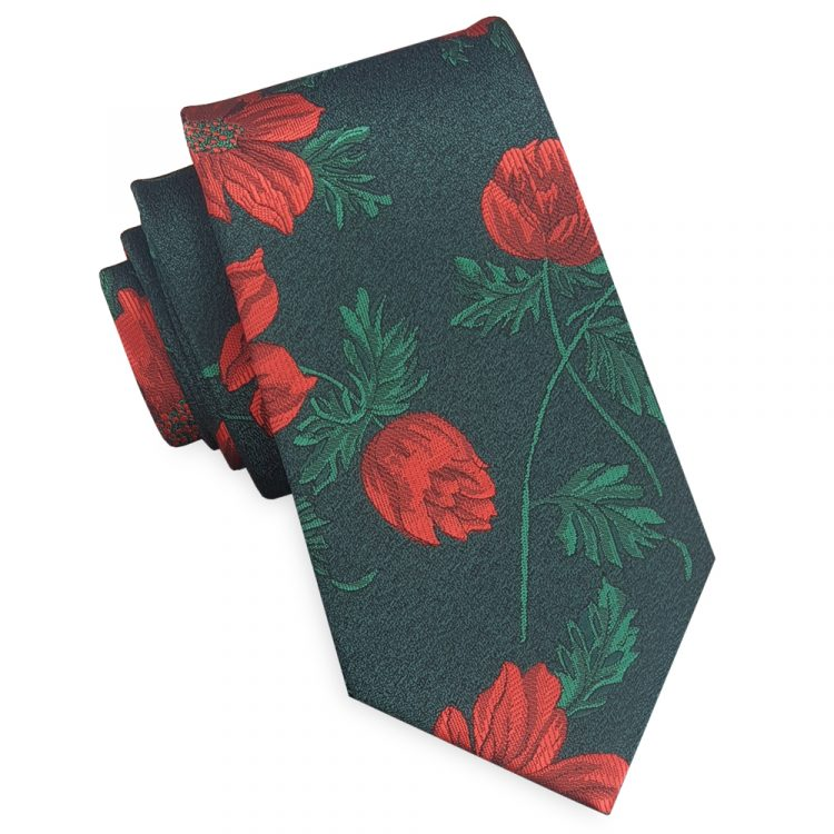 Green with Red & Green Floral Slim Tie