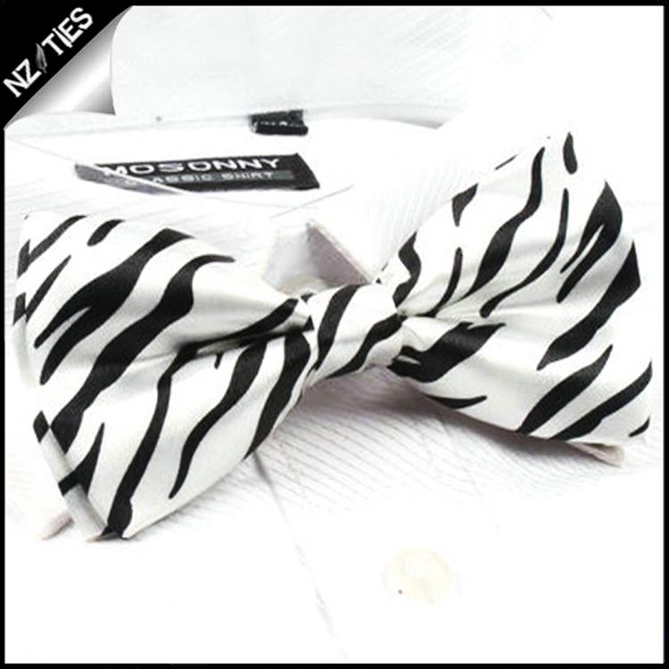 Zebra Print Black & White Bow Tie
