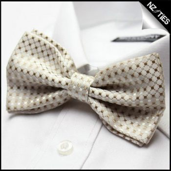 Mens Gold And White Check Bow Tie