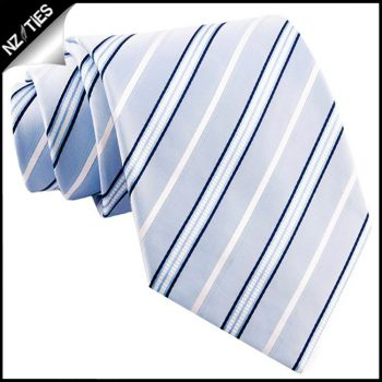 Light Blue With Navy & White Stripes Mens Necktie
