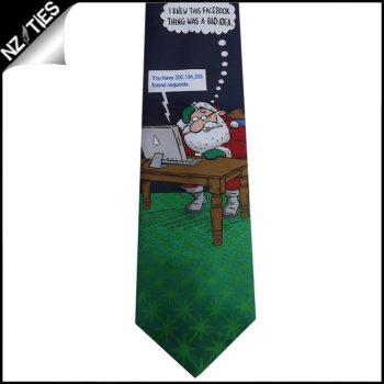 Dark Blue Facebook Santa Christmas Tie