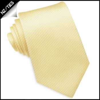 Light Gold Yellow Woven Texture Mens Tie