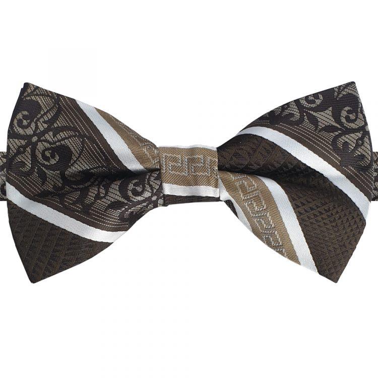 Bronze & White Classic Design Bow Tie