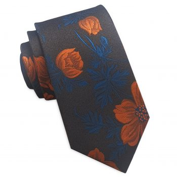 Dark Brown With Orange & Blue Floral Slim Tie