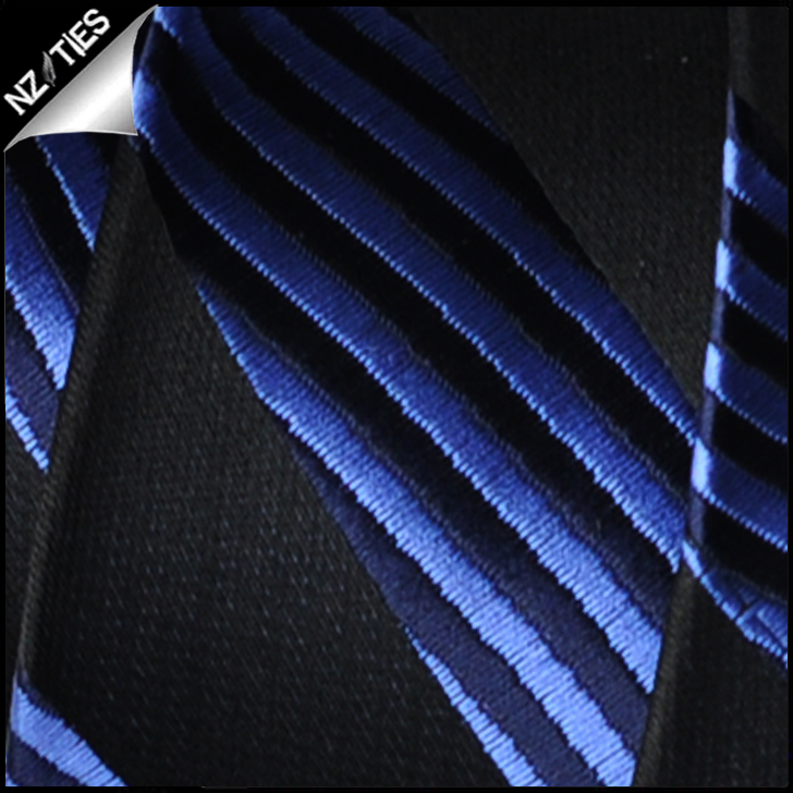 Blue and Black Waves Mens Necktie 2