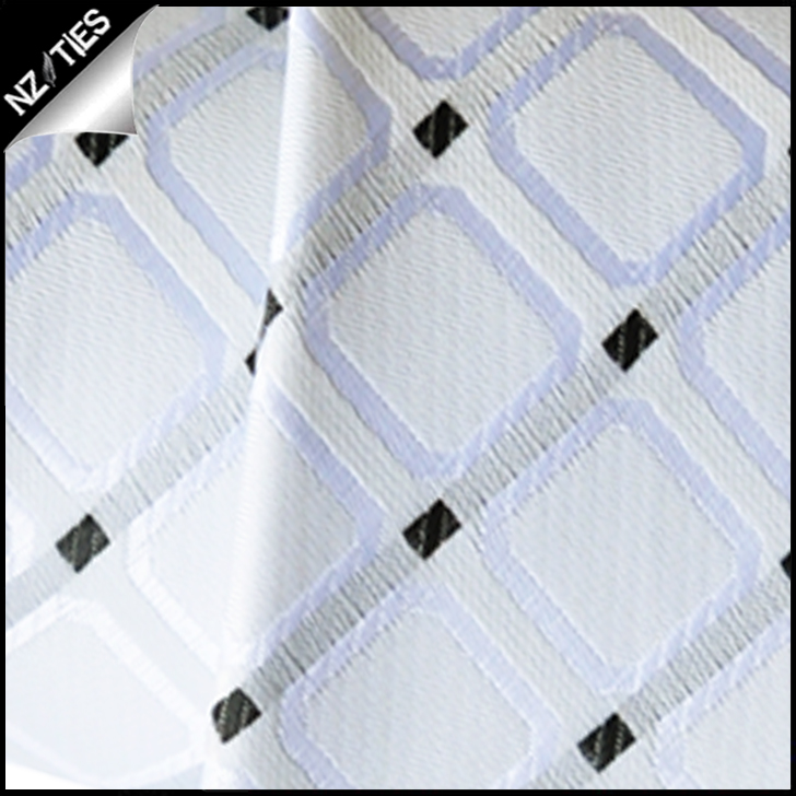 Ivory with White Squares Mens Necktie 2