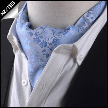 Light Blue Floral Ascot Cravat