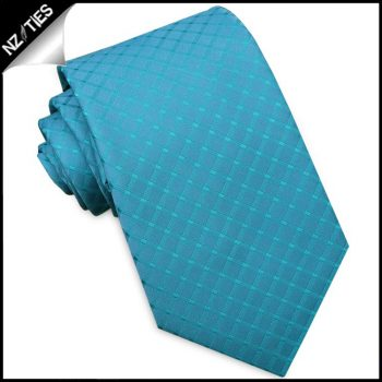 Turquoise With Grids Mens Tie