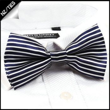 Blue And White Horizontal Stripes Bow Tie