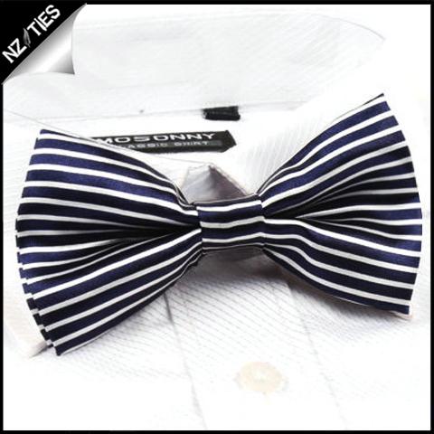 Blue and White Horizontal Stripes Bow Tie