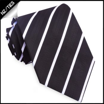 Black With Thin White Bands & Zip Texture Mens Tie