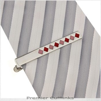 Silver With Red & Pink Diamonds Tie Clip