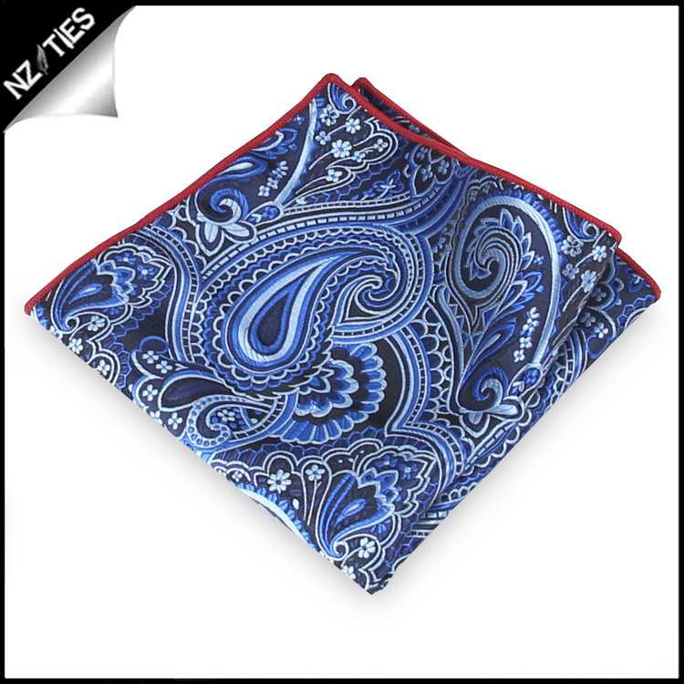 Light & Dark Blue Paisley Pocket Square