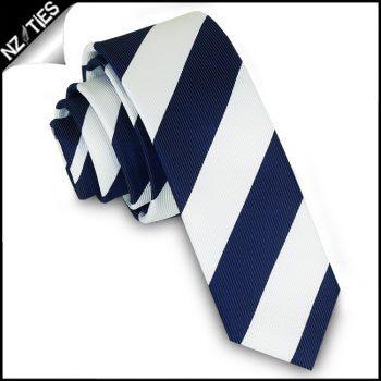Navy Blue & White Stripes Mens Skinny Necktie