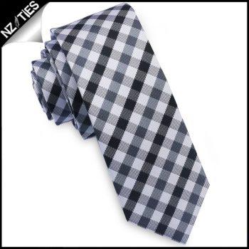 Black, Grey & White Check Plaid Skinny Tie