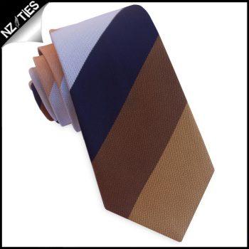 Dark Blue, Bronze, Silver & Copper Stripes Slim Tie