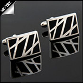 Mens Black & Silver Zig Zags Cufflinks