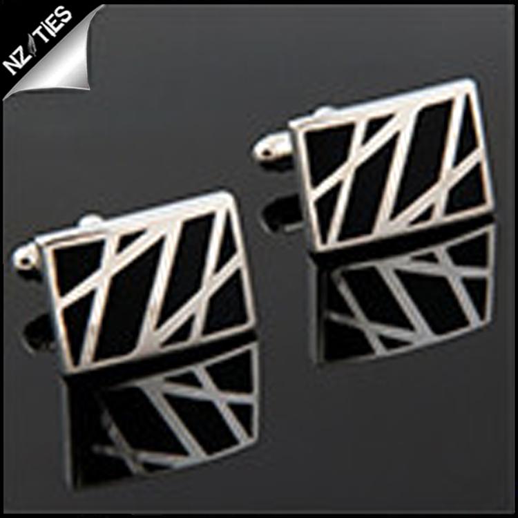 Mens Black & Silver Zig Zags Cufflinks