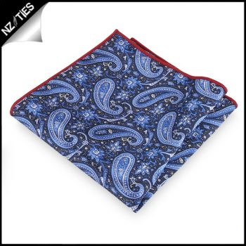 Black With Light Blue & White Paisley Pocket Square
