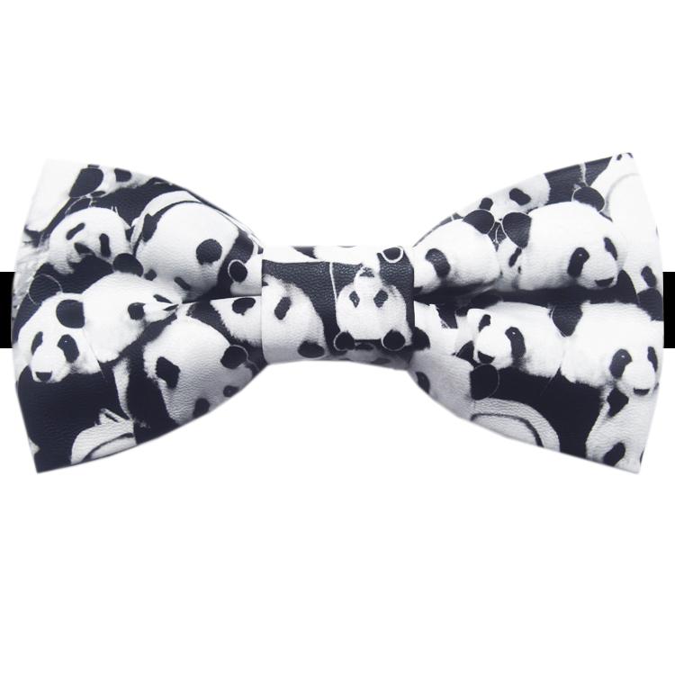 Panda Bear Bicast Leather Bow Tie