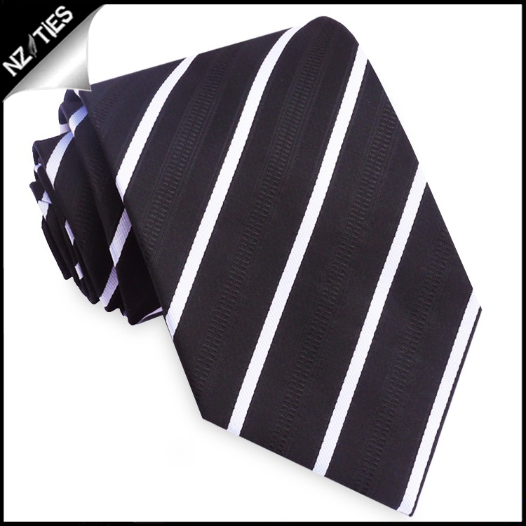 Black with Thin White Bands & Zip Texture Tie Set 2