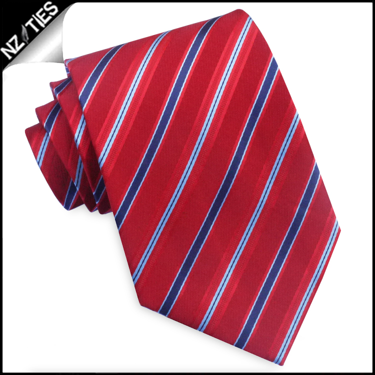 Red with Navy and Sky Blue Stripes Mens Necktie