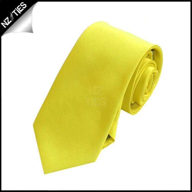 Boys Daffodil Yellow Plain Necktie