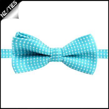 Boys Turquoise With White Polkadots Bow Tie