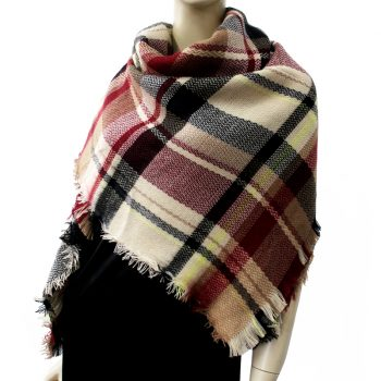 Beige, Tan, Red, Yellow & Black Tartan Womens Scarf