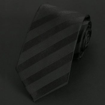 Black Stripes On Black Silk Tie